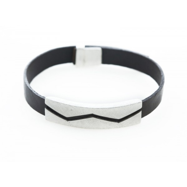 Bokaris Men's Silver Brown Leather Bracelet