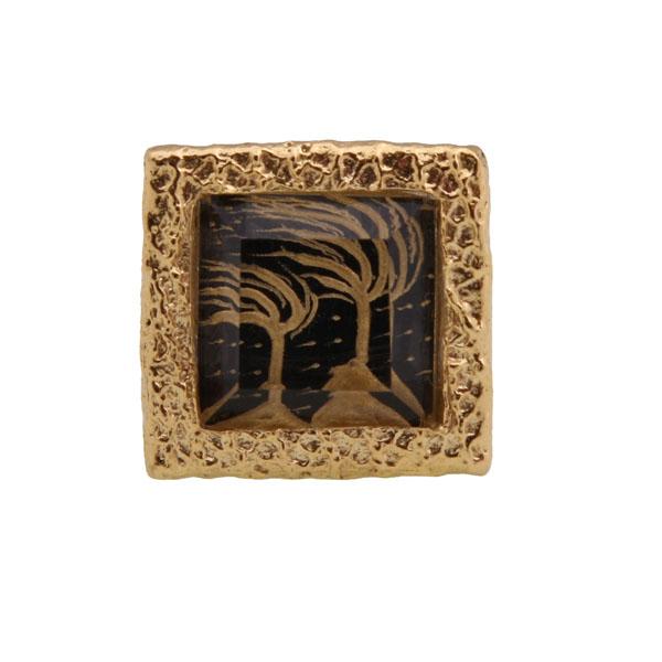 Cosmochaos Ασημένιο καρέ δαχτυλίδι Δέντρο Ζωής με χαλαζία