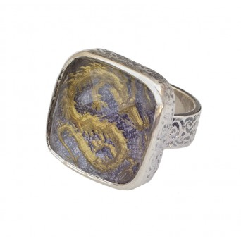 Cosmochaos Silver Chinese Dragon square ring with quartz