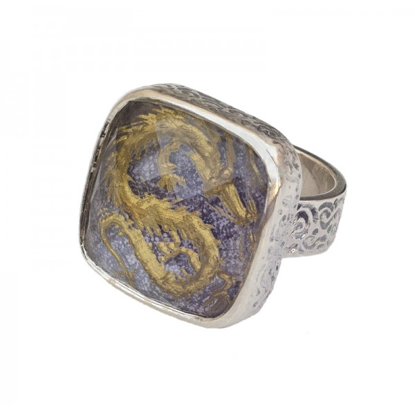 Cosmochaos Ασημένιο δαχτυλίδι κινέζικος δράκος με χαλαζία