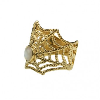 Cosmochaos Gold plated silver Spider Web ring