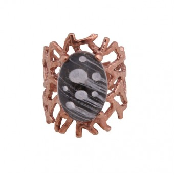 Cosmochaos Rose plated silver comets ring with quartz