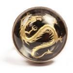 Cosmochaos Silver solitaire golden dragon ring with quartz