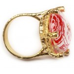 Cosmochaos Solitaire silver red rose ring with quartz