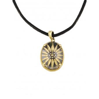 Cosmochaos Golden flower silver necklace  with quartz sculptured