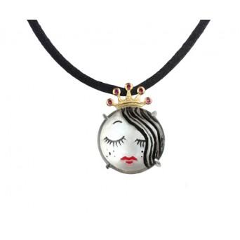 Cosmochaos Silver princess necklace  with quartz sculptured