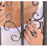 Efstathia Ασημένιο δαχτυλίδι με πράσινες πέτρες ζαντ