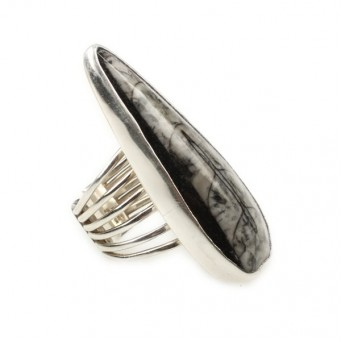 Efstathia Handmade silver ring with fossil