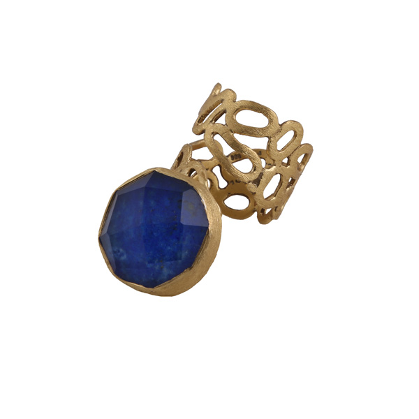 Efstathia Golden silver ring with quartz and blue lapis lazouli