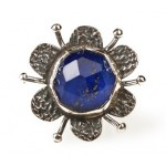 Efstathia Silver flower ring with blue lapis lazouli and quartz