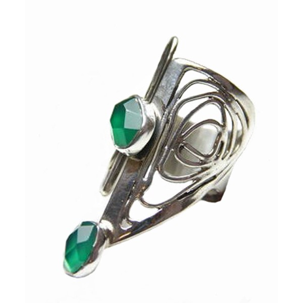 Efstathia Silver asymmetric ring with green jade