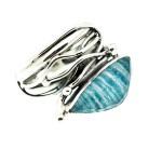 Efstathia Ασημένιο δαχτυλίδι με ριγέ γαλάζιο αμαζονίτη & χαλαζία