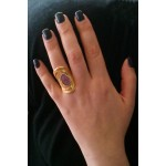 Efstathia Handmade gold plated silver spiral ring with ruby
