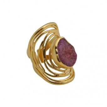 Efstathia Επίχρυσο ασημένιο δαχτυλίδι σπείρα με ρουμπίνι