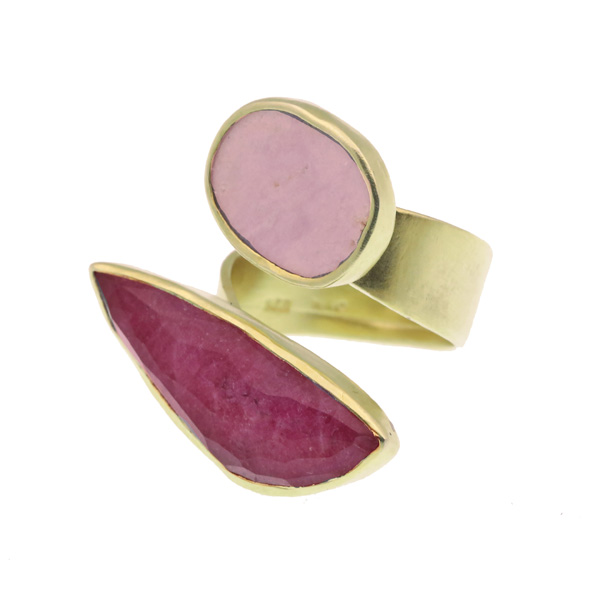 Efstathia Silver ring with pink ruby, quartz and phosphorite