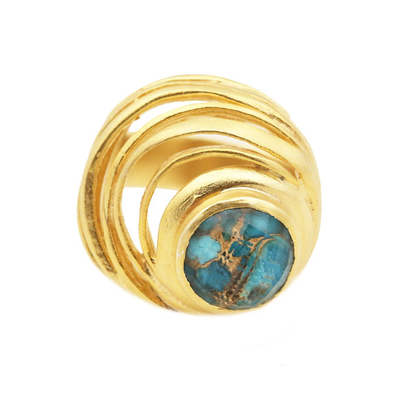 Efstathia Golden silver spiral ring with turquoise quartz