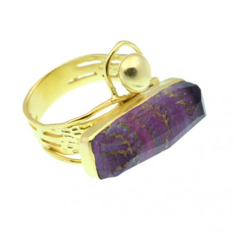 Efstathia Silver ring with fuchsia tapestry and quartz