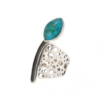 Efstathia Perforated silver ring with quartz and turquoise crysocolla