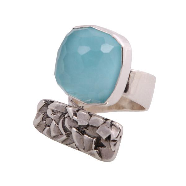 Efstathia Ασημένιο δαχτυλίδι με στρογγυλό χαλαζία και τιρκουάζ