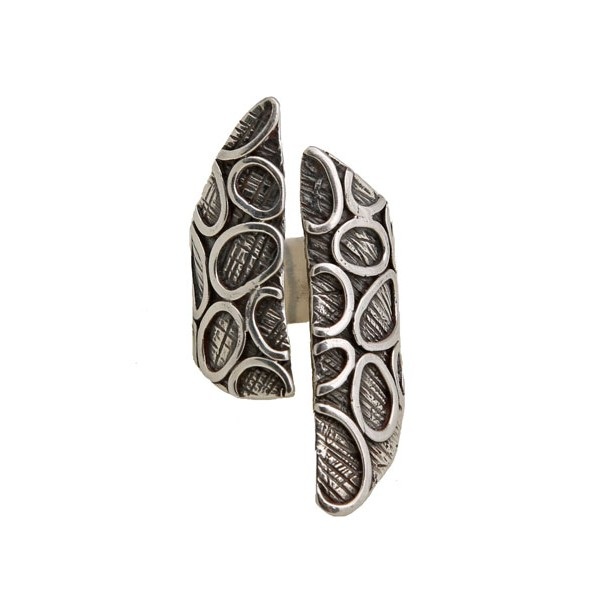 Efstathia Silver bubble ring with oxidized silver