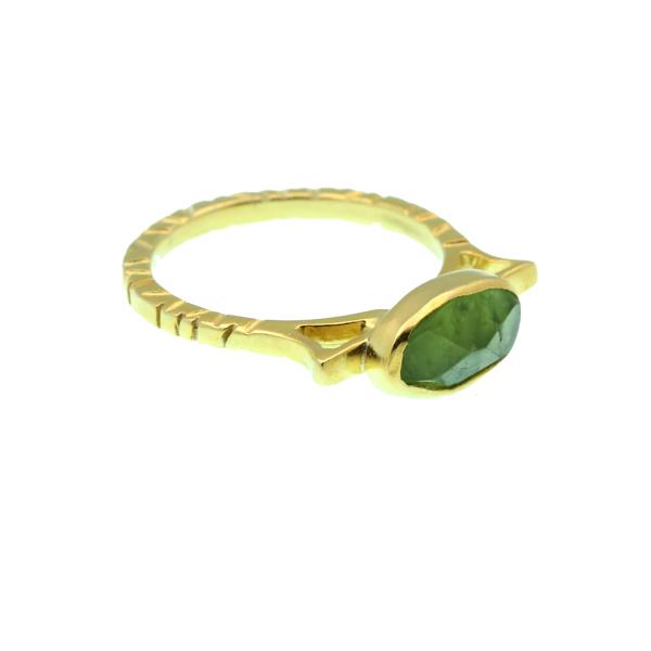 Efstathia Ασημένιο χρυσό μονόπετρο δαχτυλίδι με περίδοτο