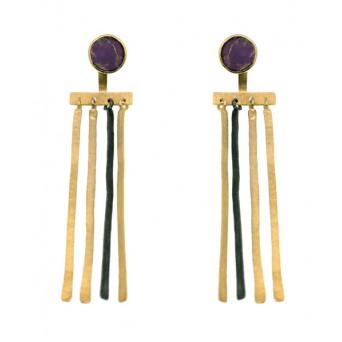 Efstathia  Citrin and Cornelians Silver Ear Jackets Earring