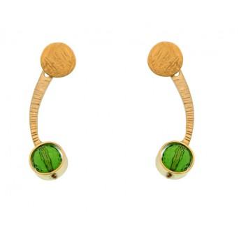 Efstathia  Green Quartz Silver Ear Jackets Earring
