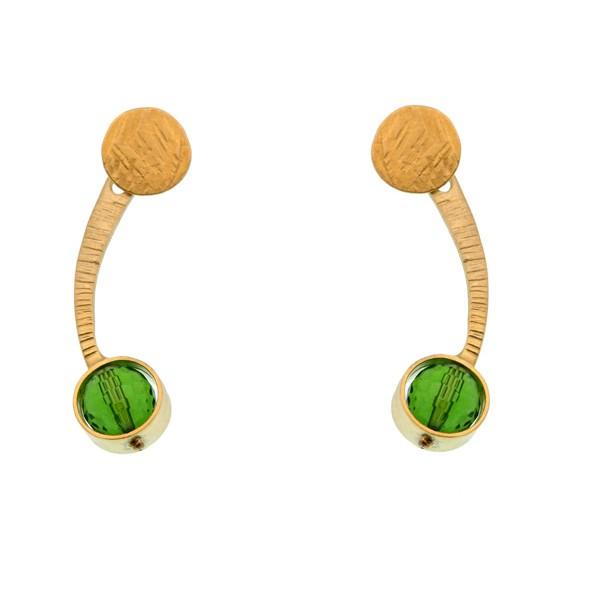 Efstathia Επίχρυσα σκουλαρίκια ear jackets με πράσινο χαλαζία