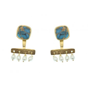 Efstathia Turquoise and Pearls Silver Ear Jackets Earring