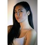 Efstathia Ασημένια μακριά σκουλαρίκια ear jackets με μωβ μωσαικό