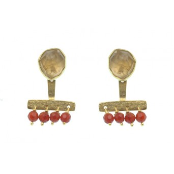 Efstathia  Citrin and Cornelians Silver Ear Jackets Earring
