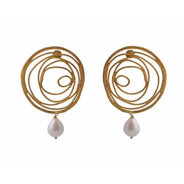 Efstathia Ασημένια σκουλαρίκια ρόδα με μαργαριτάρι