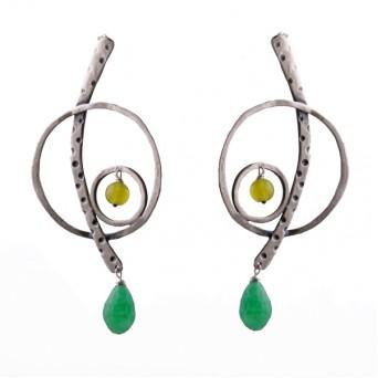 Efstathia Music clef silver earrings with Jade