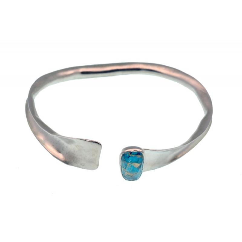 Efstathia Ασημένιο βραχιόλι χειροπέδα με τυρκουάζ b5341560253