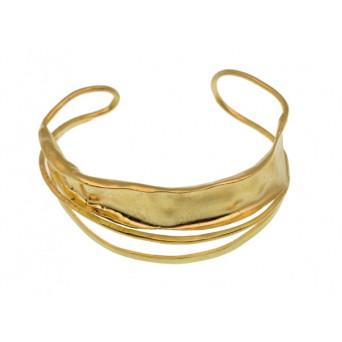 Efstathia Handmade gold plated silver open cuff bracelet