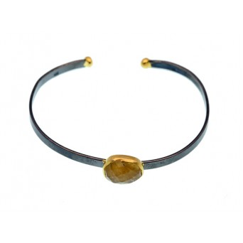 Efstathia Ασημένιο βραχιόλι χειροπέδα με πέτρα κιτρινίτη