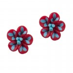 Fl Ασημένια σκουλαρίκια τριαντάφυλλα κόκκινα γαλάζια