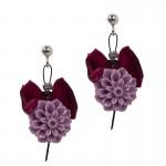 Jt Ασημένια καρφωτά σκουλαρίκια μοβ λουλούδια