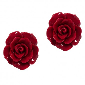 Fl Large Silver Red Rose Flower Stud Earrings