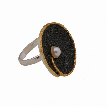 Jt-Joy Black Lava and Fresh Water Pearl Silver Ring