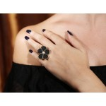 Jt Black Lava and Fresh Water Pearl Silver Flower Ring