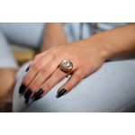 Jt Faceted Quartz Crystal Silver Ring with Gold Star