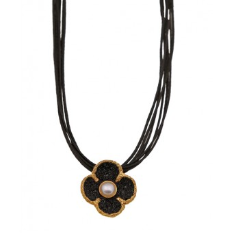 Jt Silver flower necklace with black lava and pearl