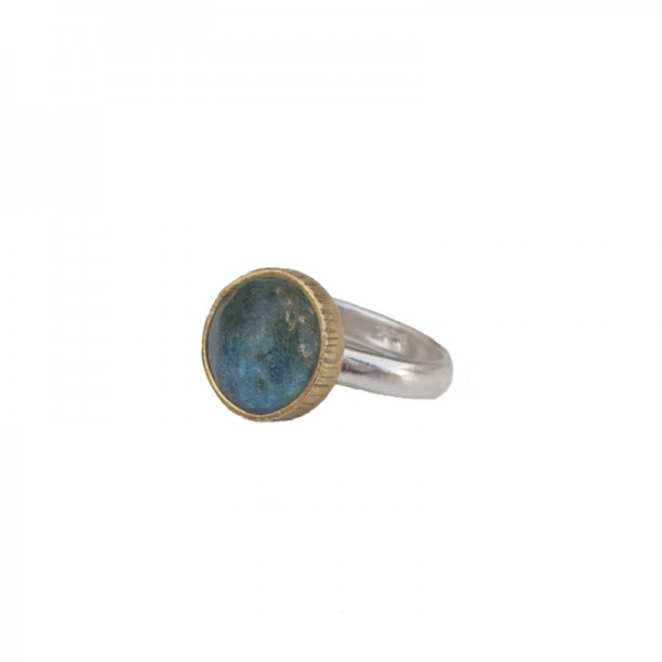 Joy Silver solitaire ring with Quartz and Turquoise