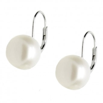 Jt Ασημένια σκουλαρίκια πέρλες λευκές σε γάντζο