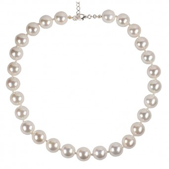 Jt Sterling Silver White Shell Pearls 12 mm Beaded Necklace