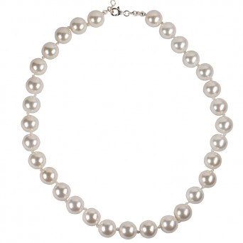 Jt Sterling Silver Shell Pearls Beaded Necklace 10mm