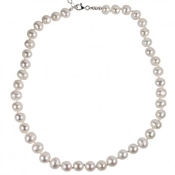 Jt Silver Fresh Water Pearls Beaded Necklace