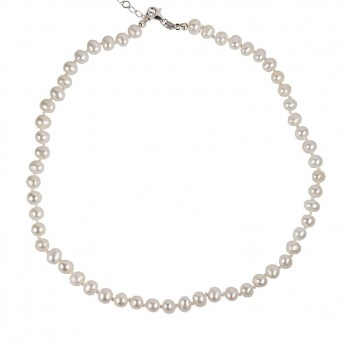 Jt Silver Fresh Water Pearls Beaded Necklace 6mm