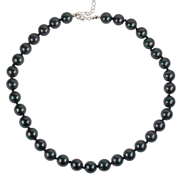 Jt Silver necklace pearls iridescent black with knots
